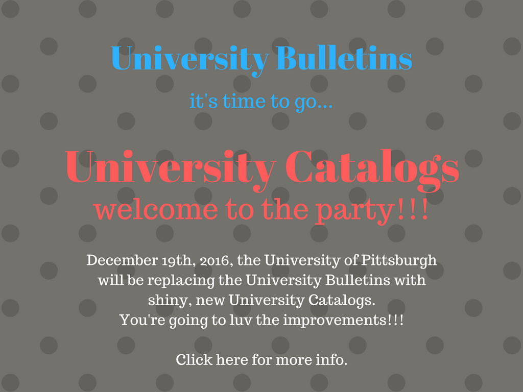 New University of Pittsburgh Catalogs