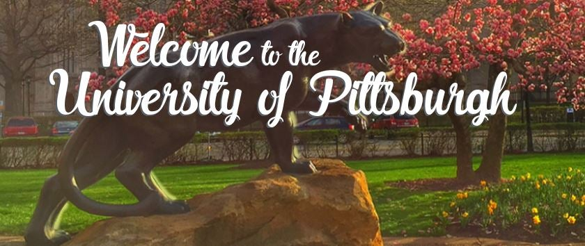 Welcome to the university of Pittsburgh with panther statue in background