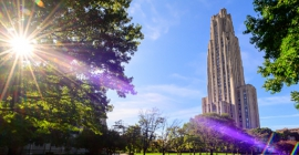 Cathedral of learning with bright sun