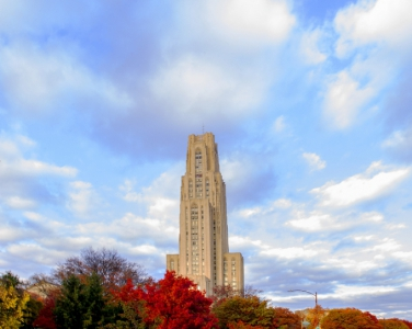 Cathedral of learning in the fall